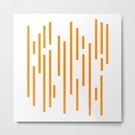 Minimalist Lines – Orange Metal Print
