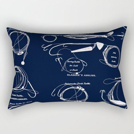 Maritime pattern- white fishing gear on darkblue backround Rectangular Pillow