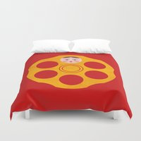 russian Duvet Covers featuring Russian Roulette by John Tibbott