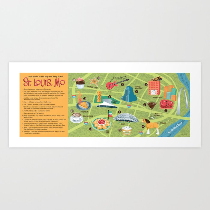 Illustrated Map of St. Louis Art Print