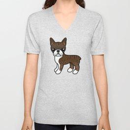 Brindle Boston Terrier Cute Cartoon Illustration Unisex V-Neck