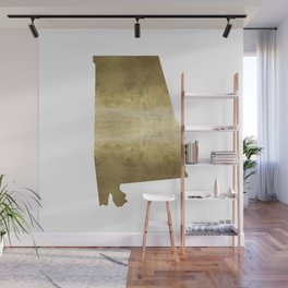 alabama gold foil state map Wall Mural