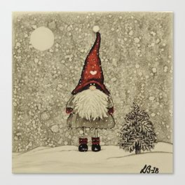 """Tomten Elmer"" is looking for a little Christmas tree. Canvas Print"