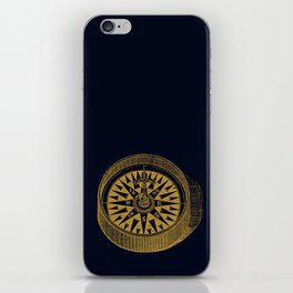 The golden compass I- maritime print with gold ornament iPhone Skin