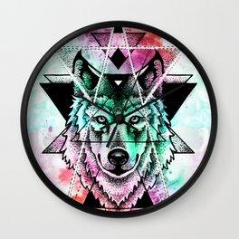 wolf mandala Wall Clock