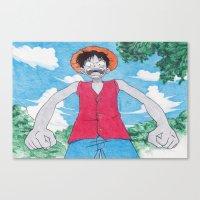 luffy Canvas Prints featuring Monkey Art Luffy by DeMoose_Art