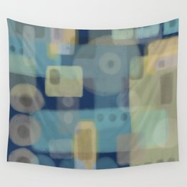 Some of This and That - Dark Blue Abstract Art Wall Tapestry