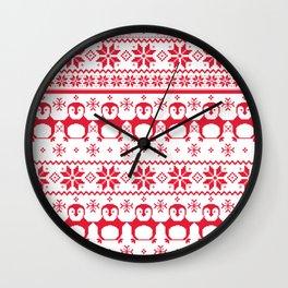 Red Scandinavian Penguin Holiday Design Wall Clock