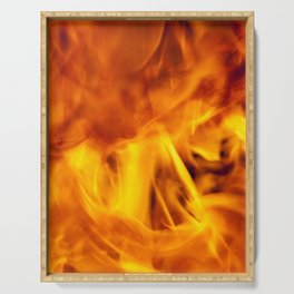 chaotic orange flames Serving Tray