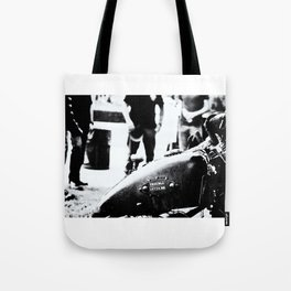 Trouble Loves Me Tote Bag