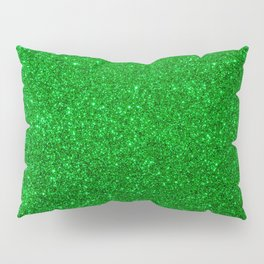 Emerald Green Shiny Metallic Glitter Pillow Sham