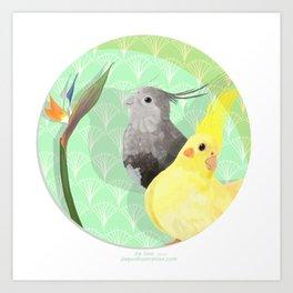 Two Cockatiels Art Print