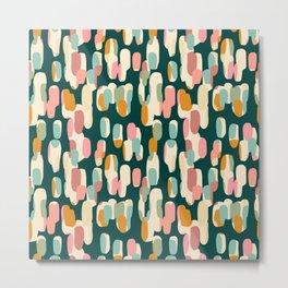 Modern minimalist non-figurative teal pink pattern Metal Print