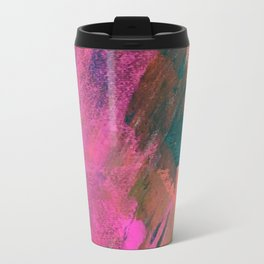 Expand [1]: a colorful, minimal abstract piece in pinks, green, and blue Travel Mug