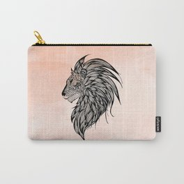 Peach Watercolor Lion Carry-All Pouch