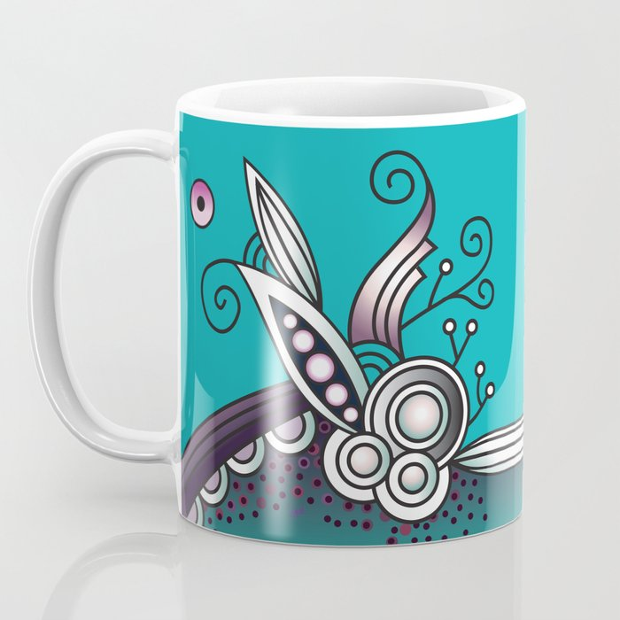 Ornate square zentangle, Celadon turquoise Coffee Mug