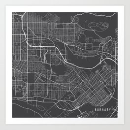 Burnaby Map, Canada - Gray Art Print