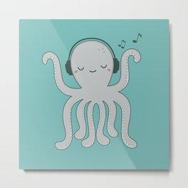 Kawaii Cute Music Loving Octopus Metal Print