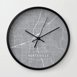 Huntsville Map, Alabama USA - Pewter Wall Clock