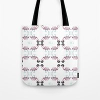 afro Tote Bags featuring Afro flamingos by Iratxe González