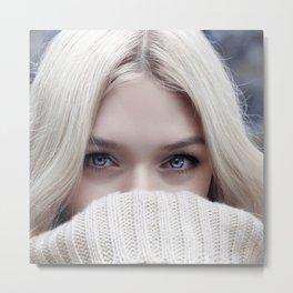 blonde girl eyes Metal Print