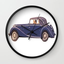 Vintage Car Oil Painting Wall Clock