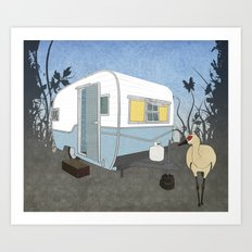 Travel Trailer Sandhill Crane Art Print