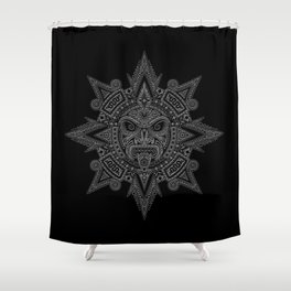 Ancient Gray and Black Aztec Sun Mask Shower Curtain