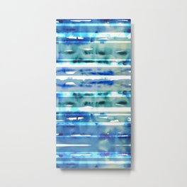 Watercolor stripes in blue Metal Print