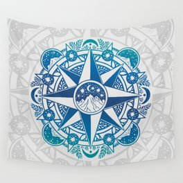 Journey to Moon Mountain   Turquoise Navy Ombré Wall Tapestry