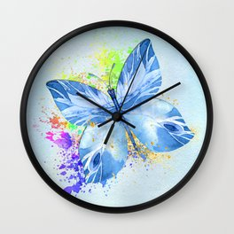 Blue Butterfly Watercolor Rainbow And Gold Wall Clock