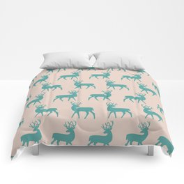 Mid Century Modern Deer Pattern Dusty Turquoise and Beige 3 Comforters