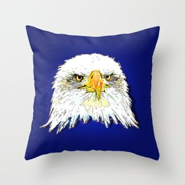 bald eagle pop illustration Throw Pillow