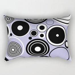 Geometric black and white circles on pastel blue Rectangular Pillow