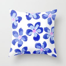 Posey Power - Ink Blue Multi Throw Pillow