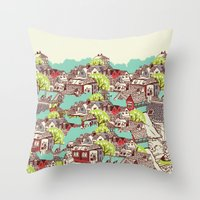 the neighbourhood Throw Pillows featuring Tur-Town by Yoshi Andrian