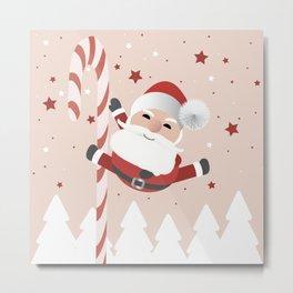 A Happy Pole Dancing Santa Claus Metal Print
