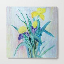 yellow iris on a blue background Metal Print