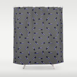 Police Flag Pattern Shower Curtain