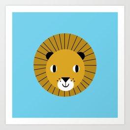 Lion face cute decor for kids boys and girls nursery kids room Art Print