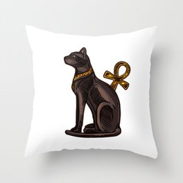 Egyptian black cat and Ankh Throw Pillow