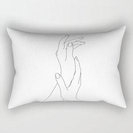 Hands line drawing illustration - Dia Rectangular Pillow