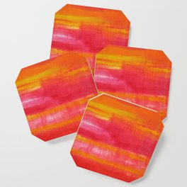 'Summer Day'  Orange Red Yellow Abstract Art Coaster