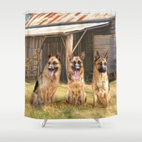 german Shower Curtains featuring German Shepherds by Trudi Simmonds