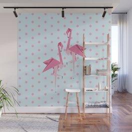 Origami Flamingo Wall Mural