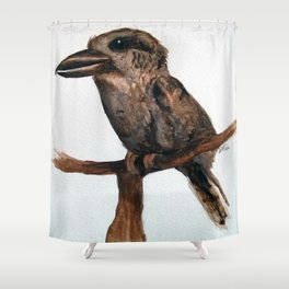 Barred Puff-bird (like a Kookaburra) in watercolour Shower Curtain