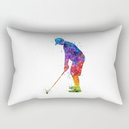 Boy Golf Player 2 Beautiful Colorful Waterolor Art Rectangular Pillow