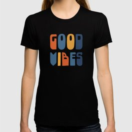Good Vibes Positive Retro Typography in Blue, Orange, and Mustard on Light Beige T-shirt