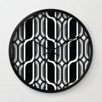 bauhaus Wall Clocks featuring Bauhaus Type Black and White Art by Addison Barker