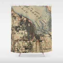 Vintage Map of Tacoma Washington (1895) Shower Curtain